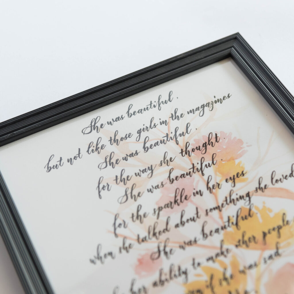 framed inspirational quote, women