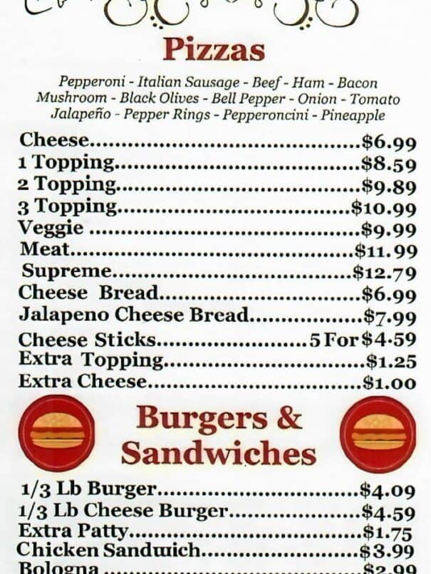 Baits-N-More Big Blue Deli Menu 1 of 2