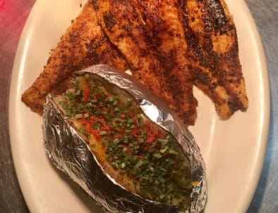 The Pond Restaurant Aurora Kentucky Blackened Catfish With Baked Potato