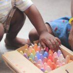 Child selecting a crayon