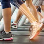 walking on treadmill with overlay of bones