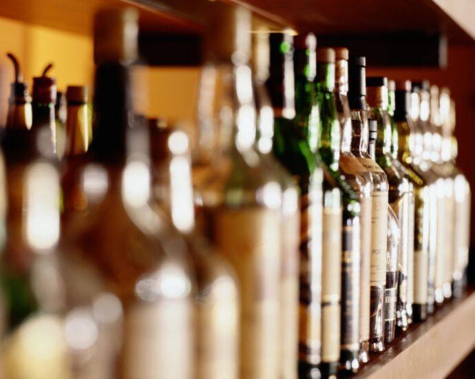 Row of whiskey bottles