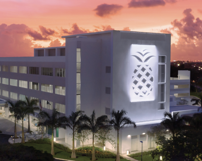 State of the art medical building at dusk