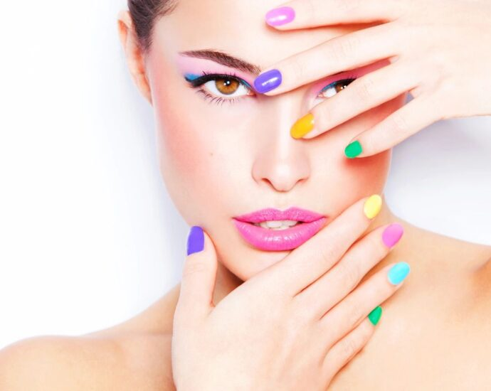 Woman with colorful nails