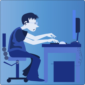 vector of office personnel working on computer