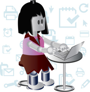 vector image of a girl using laptop