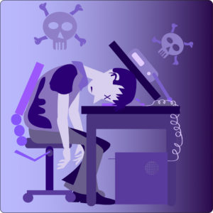 Vector illustration of guy sleeping on his computer