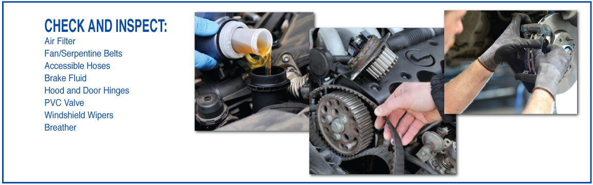 CHECK AND INSPECT: Air Filter Fan/Serpentine Belts Accessible Hoses Brake Fluid Hood and Door Hinges PVC Valve Windshield Wipers Breather
