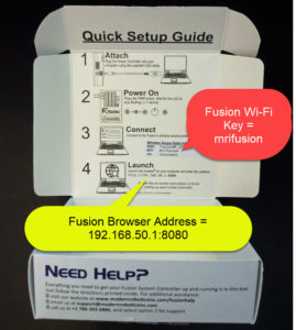 Location of Fusion Controller WiFi Access Point Key