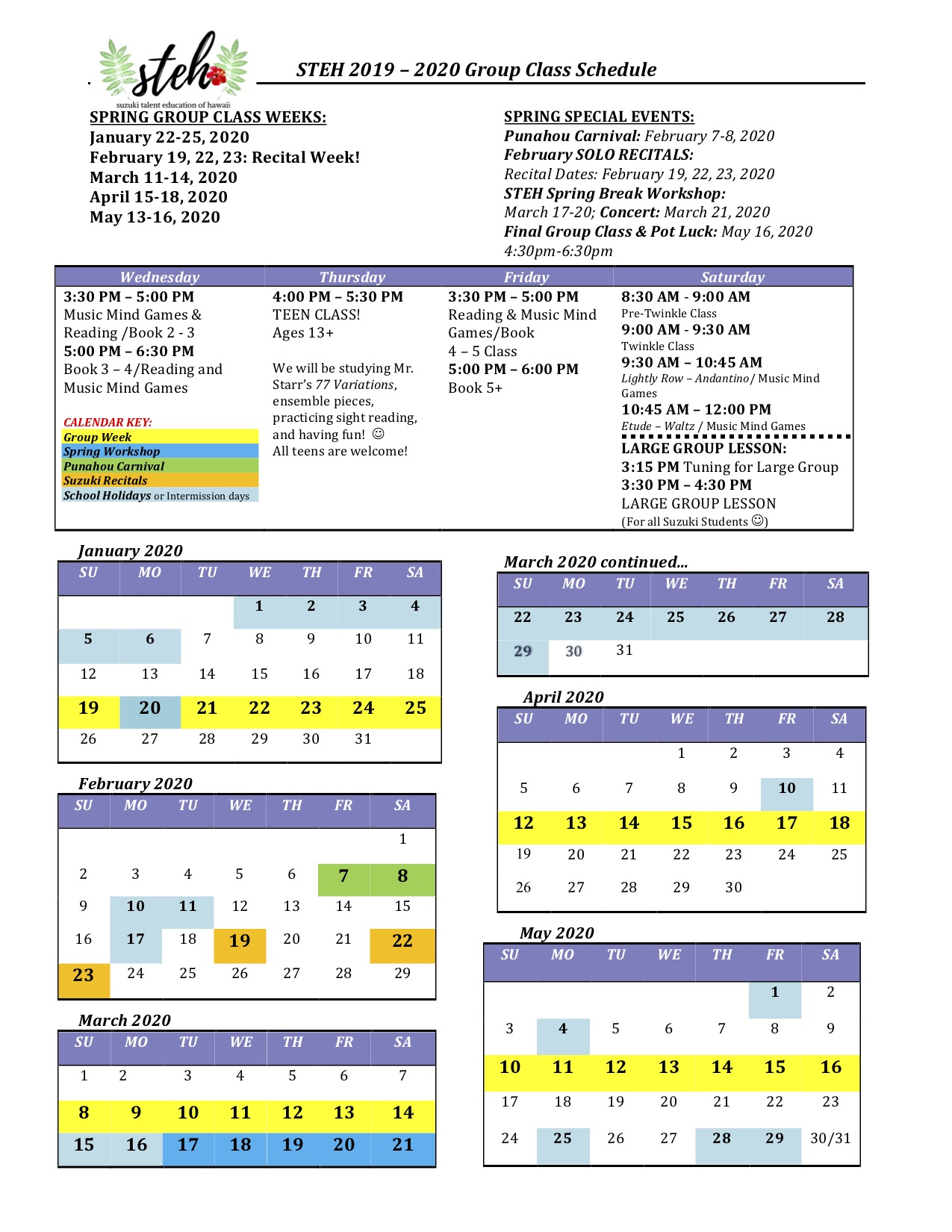 FINAL 2019 - 2020 STEH Group Class Schedule