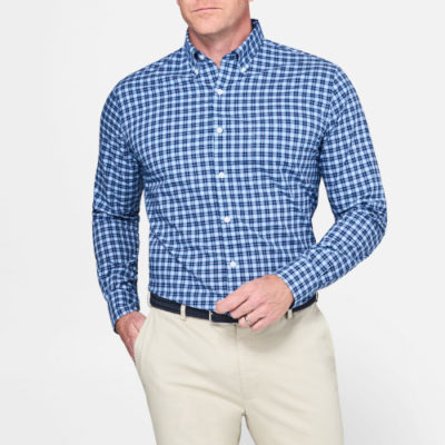 Peter Millar, Crown Vintage Multi-Check Shirt, Tahoe Blue