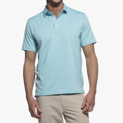 Johnnie-O Men's Albatross Prep-Formance Striped Jersey Polo, Barbados Blue