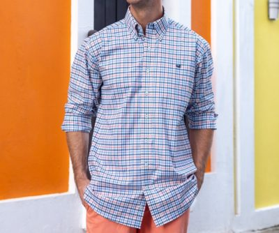 Southern Marsh Chambers Performance Gingham, Navy & Coral