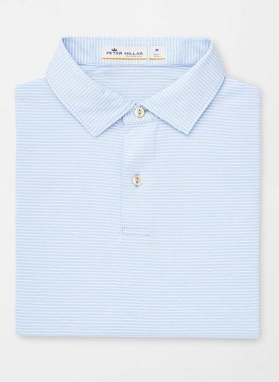 Peter Millar Melange Stripe Polo, Cottage Blue