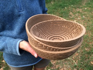 Turned cardboard bowls from my week at Anderson Ranch Arts Center.