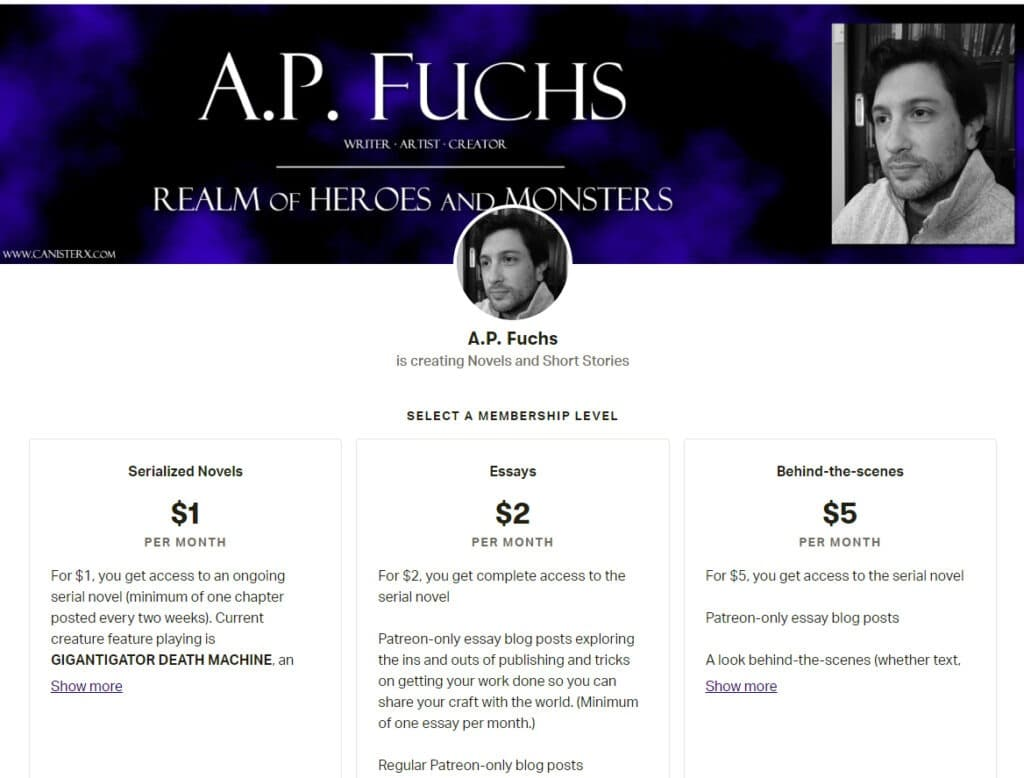 Author and artist A.P. Fuchs's Patreon page