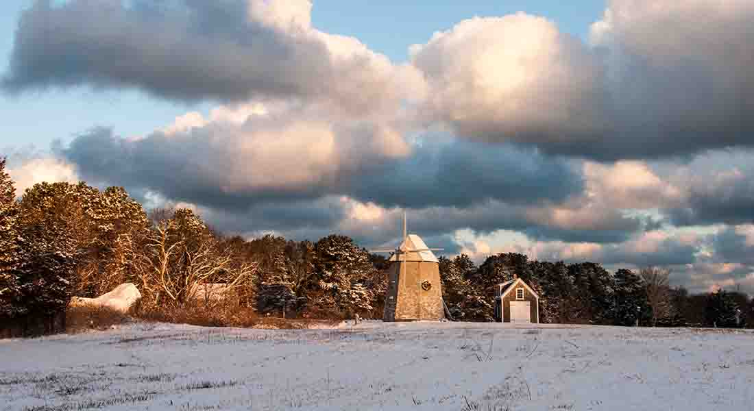 Beautiful blue, white and grey colors on a winter day with the windmill in drummer boy park.