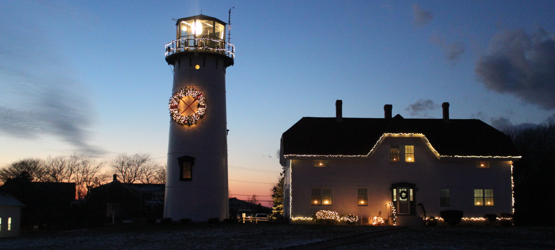 Chatham Light at night during the holidays