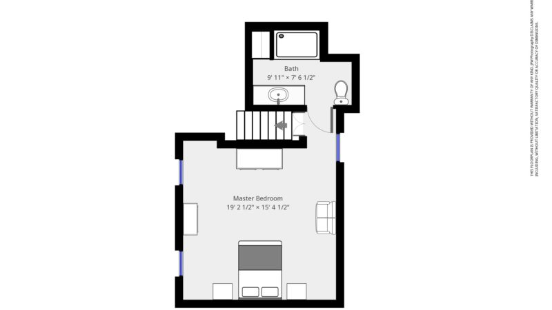 The floor plan of the Acorn room showing the entry at top of the stairs leading with the bathroom on the left and the master bedroom to the right