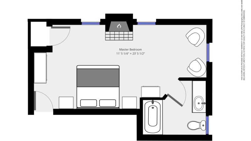 The floor plan of the Bayberry room showing the entry way by the bed with a desk on the left, flowing toward the living area with two chairs, with the bathroom door that leads into the bathroom with a sink, toilet, and bathtub