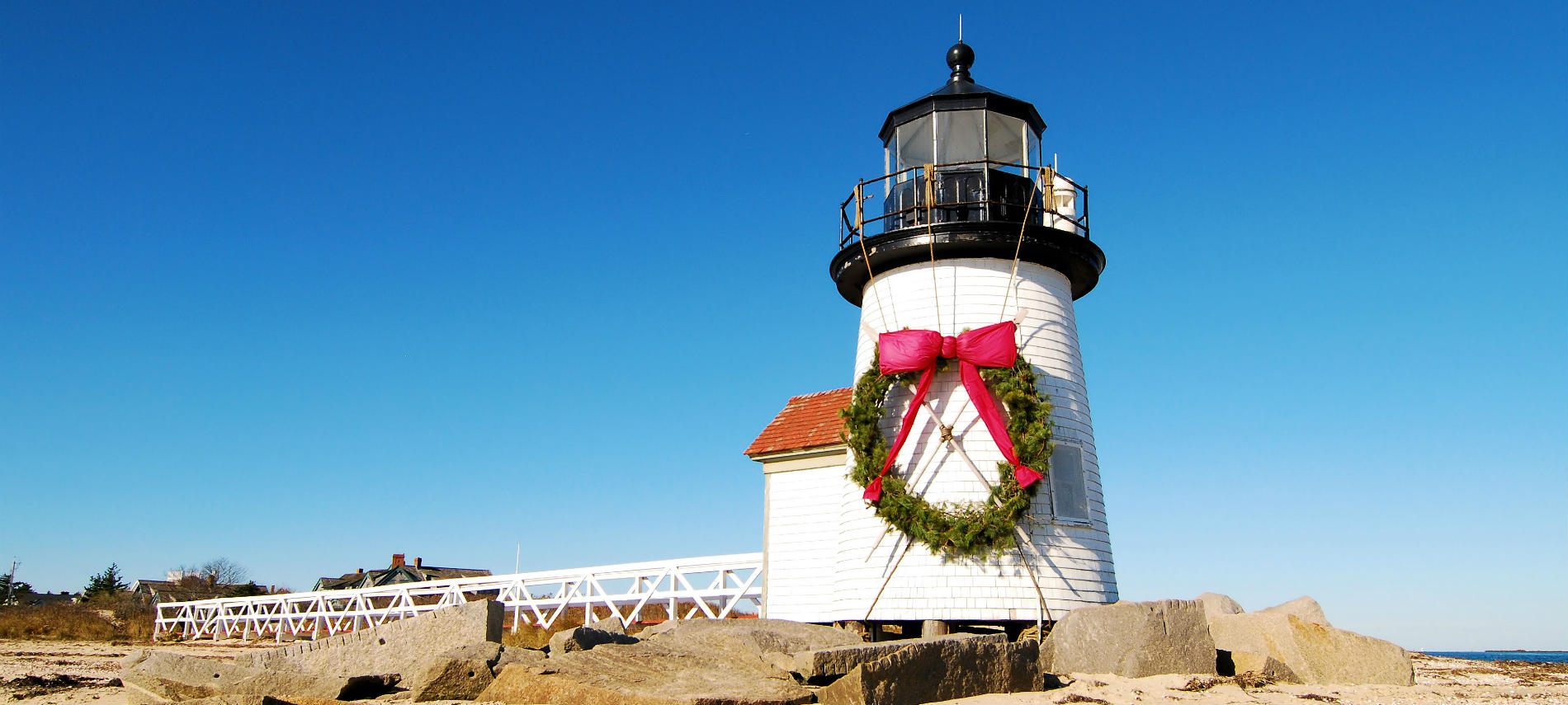 A lighthouse on Cape Cod in the wintertime
