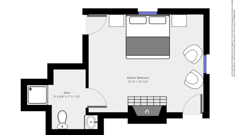 The floor plan of the Emerson room showing entry leading into the bedroom with the fireplace in front of the bed and bathroom on the same side of the entry to the right
