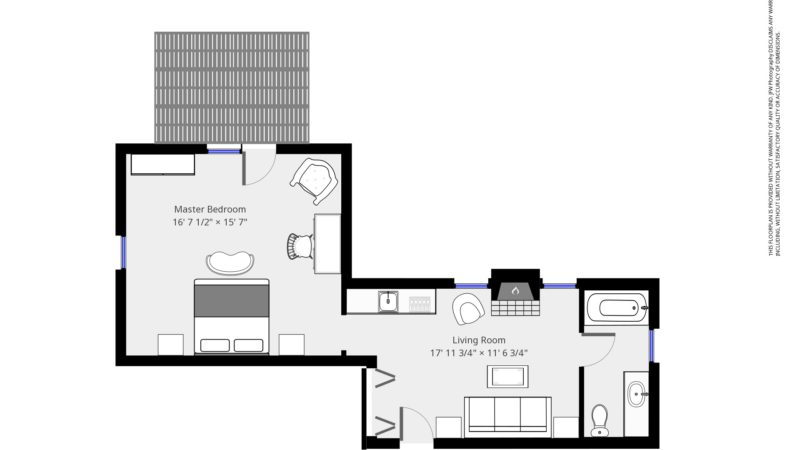 The floor plan of Refugio Suite showing the entry way into the living room with the attached bathroom, kitchenette leading to the master bedroom, which has an attached deck.