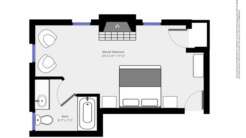 The floor plan of the Sea Meadow room leading to the right of the bed with a closet straight ahead, fireplace opposite of the bed with seating area to the left, next to the bathroom with a sink, toilet, and bathtub