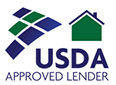 USDA Approved Lender Logo links to website when clicked.