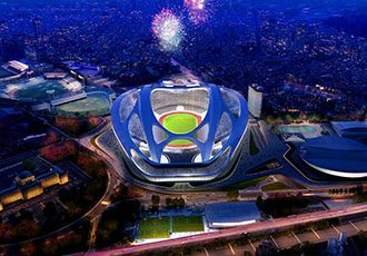 This artist rendering released by Japan Sport Council shows the new National Stadium, the main venue Tokyo plans to build for the 2020 Summer Olympics. The futuristic 80,000-seat main stadium will be the centerpiece, touted by organizers as one of the most advanced in the world. Designed by Zaha Hadid, it will go up on the site of the Olympic Stadium from 1964, the last time Tokyo was host. The Japanese capital, selected Saturday, Sept. 7, 2013 over Istanbul and Madrid to host in 2020, will also reuse three venues from the 1964 Games, demonstrating a commitment to its Olympic legacy. The main stadium, which will have a retractable roof, is expected to be finished in time to host the 2019 Rugby World Cup. (AP Photo/Japan Sport  Council)