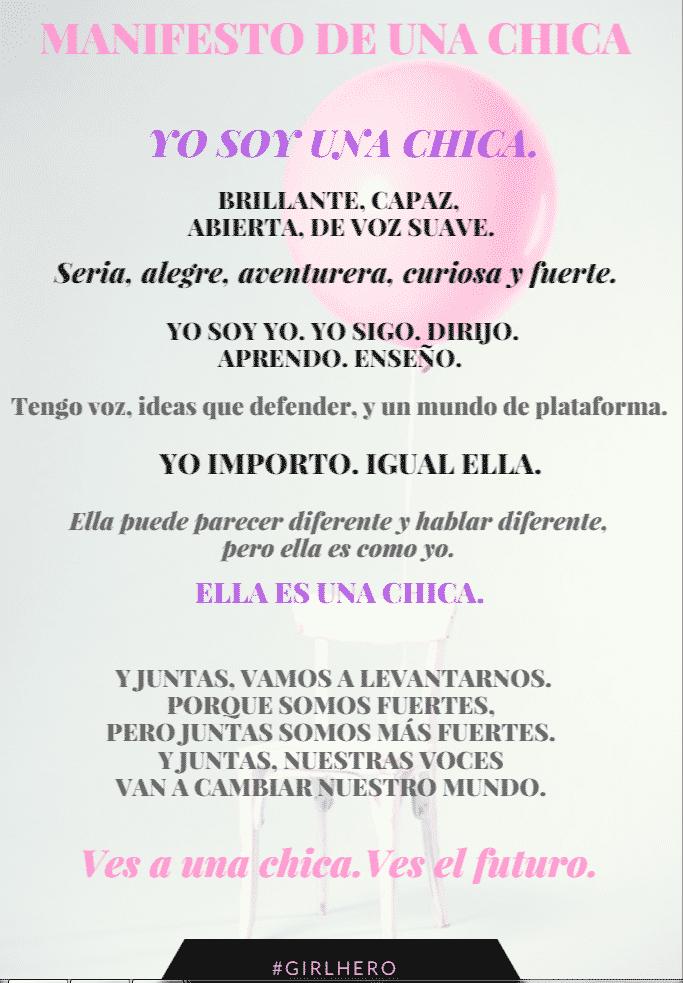 GirlHero Manifesto Chicafesto Traducido de de GirlUp. Hoy, JuliaAmanda y su madre adoptiva Rebeca Segebre se unen a celebrar DayOfTheGirl