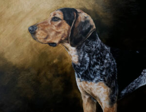 A painting of a Kelly Beagle looking regal