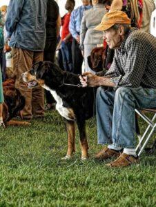Old man with a tangerine cap petting a black Entlebucher Mountain Dog