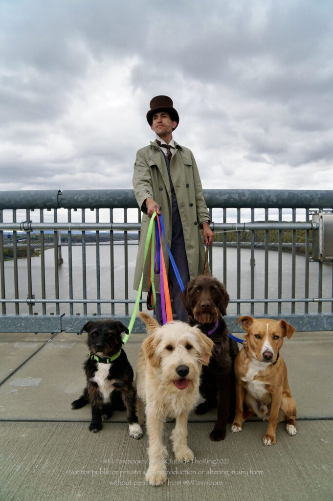 Man in a beige trench coat and a black top hat holding colored leashes to four different dogs