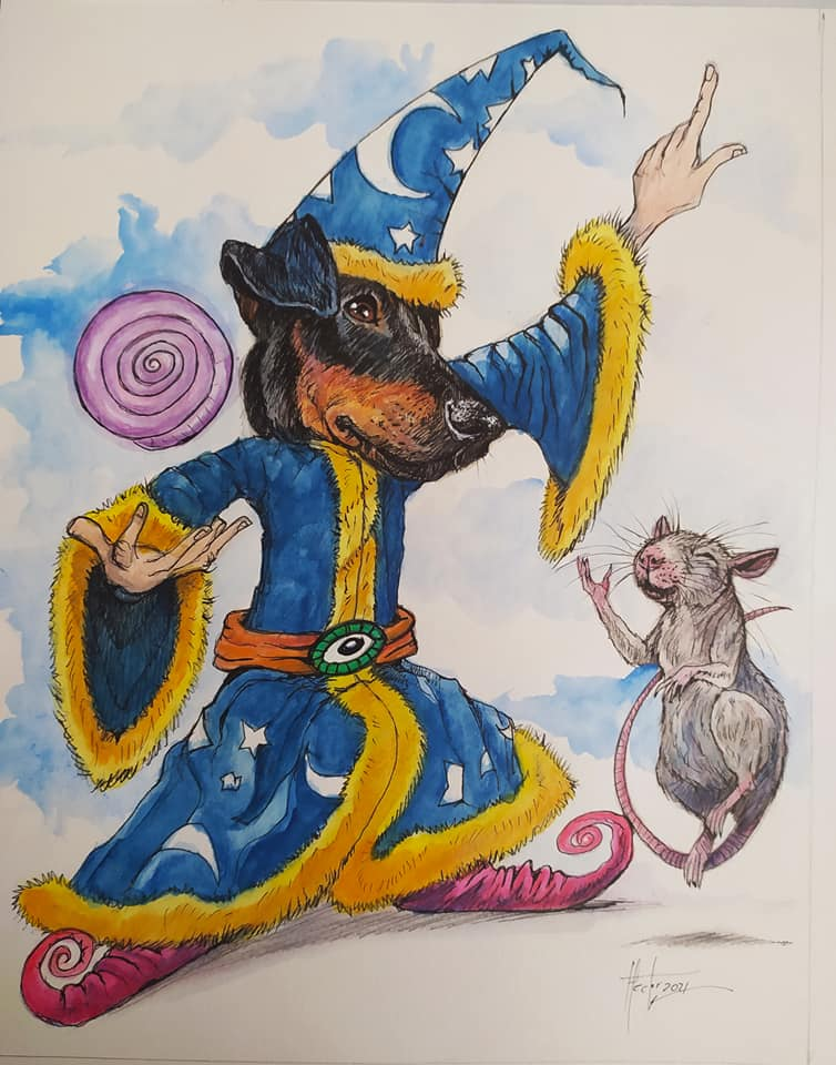 Drawing of a wizard with a Doberman for a head entertaining a dancing rat