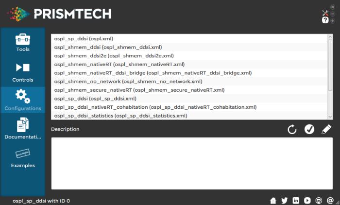 Vortex OpenSplice Launcher Configurations tab
