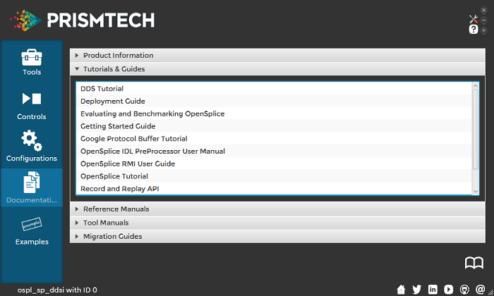 Vortex OpenSplice Launcher Documentation Tab - Tutorials & Guides