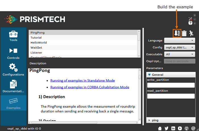 Vortex OpenSplice Launcher Examples Tab - Building the Example