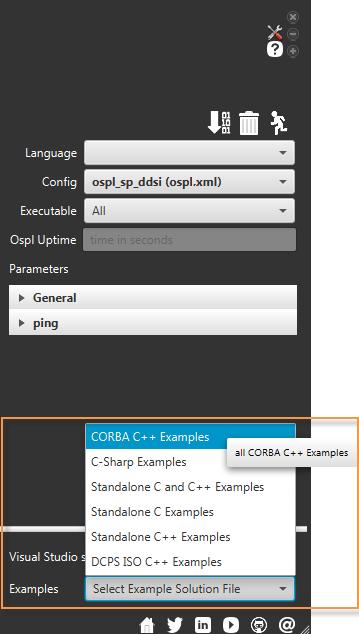 Vortex OpenSplice Launcher Examples Tab - Launch Visual Studio Examples