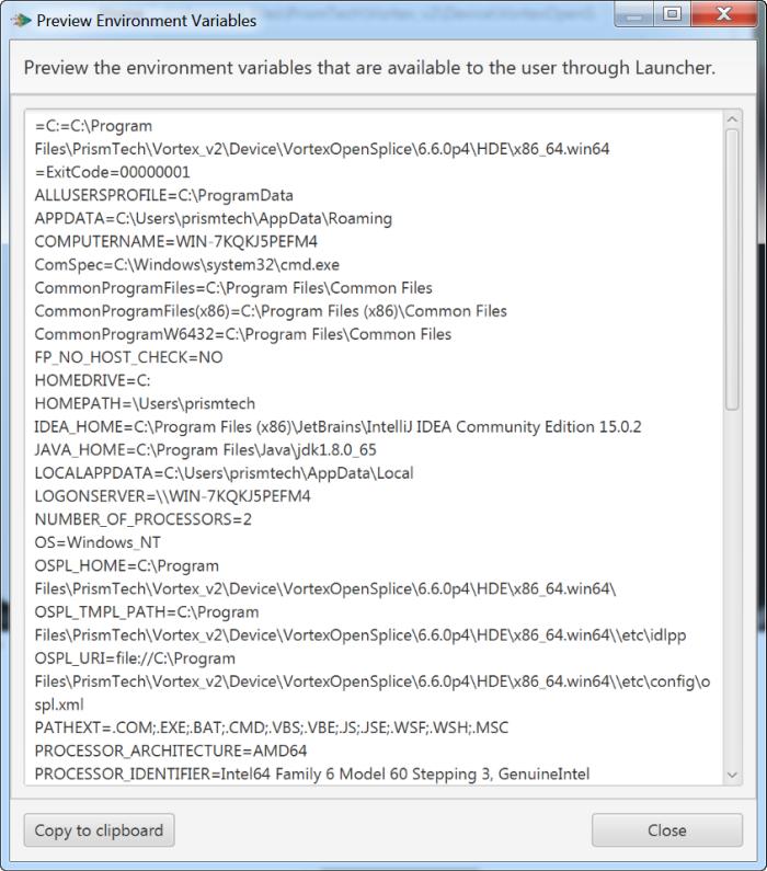 Vortex OpenSplice Launcher Preview Environment Variables