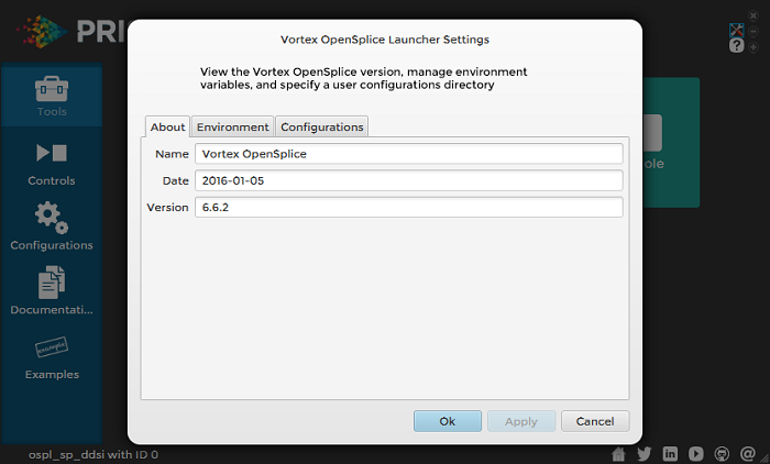 Vortex OpenSplice Launcher Settings About