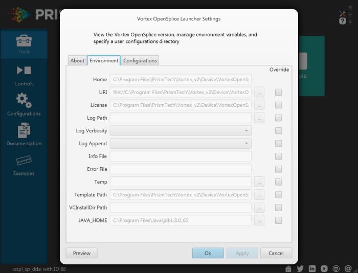 Vortex OpenSplice Launcher Settings Environment
