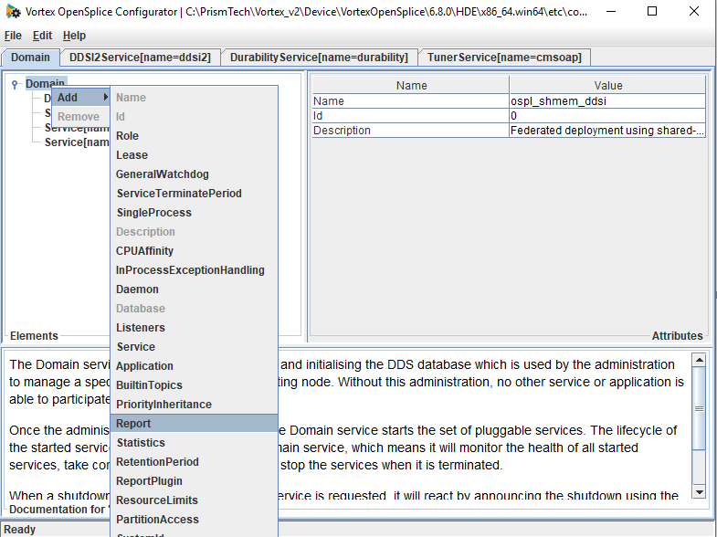 How to add report verbosity to Opensplice DDS with osplconf tool