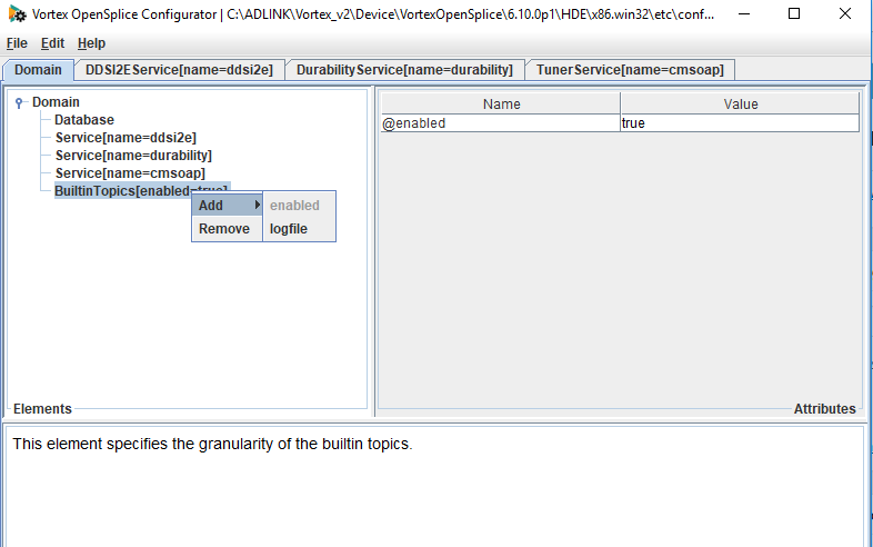 how to add the logfile setting to the builtintopics on OpenSplice using the configuration tool