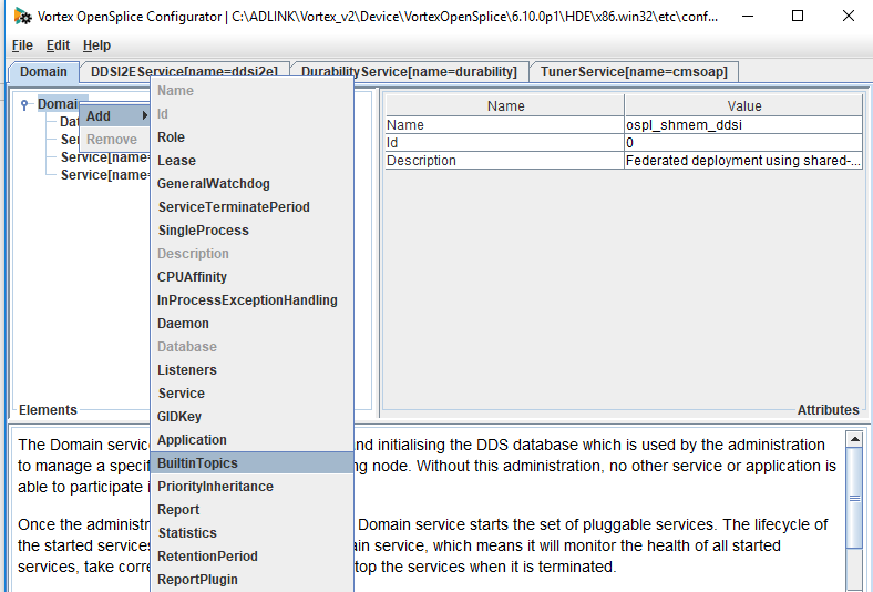 adding bulitin topics using the opensplice configuration editor, what you see on the screen