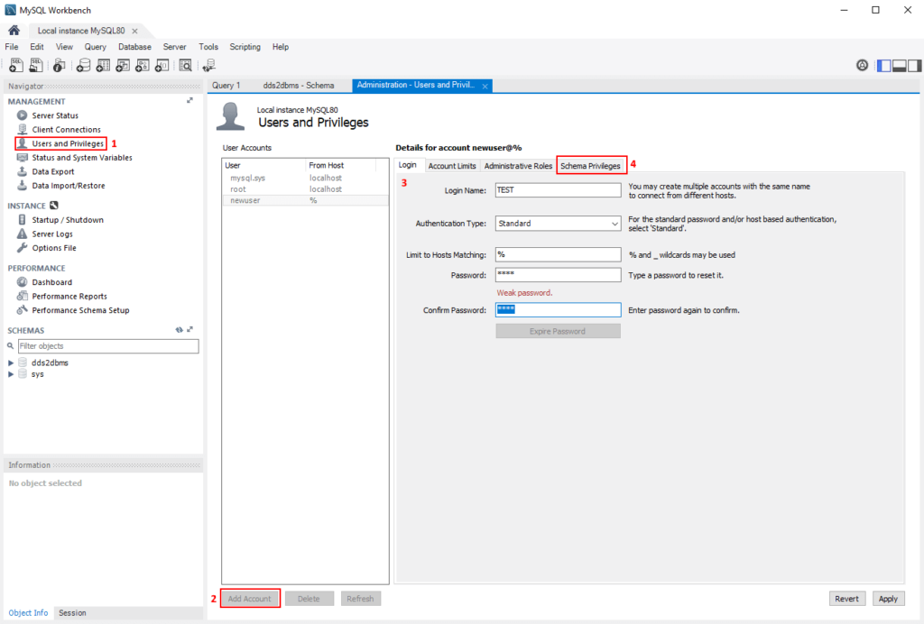 Adding a new user with MySQL Workbench