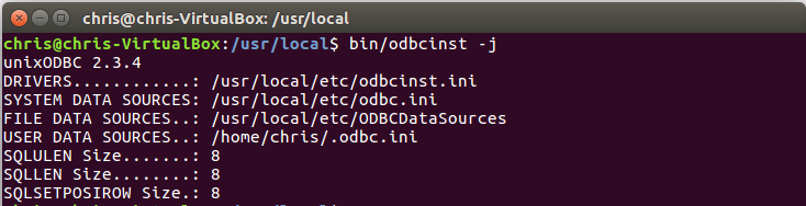 Viewing the unixODBC configuration on Linux