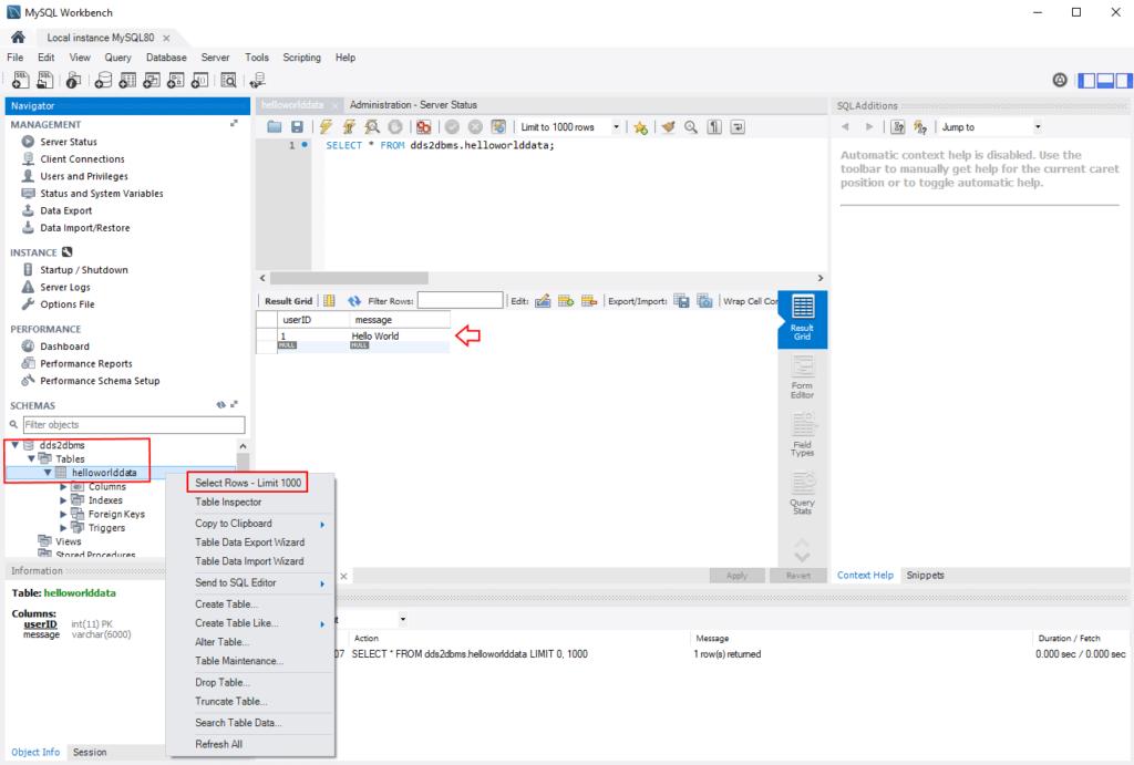 Viewing the HelloWorldData table in MySQL Workbench