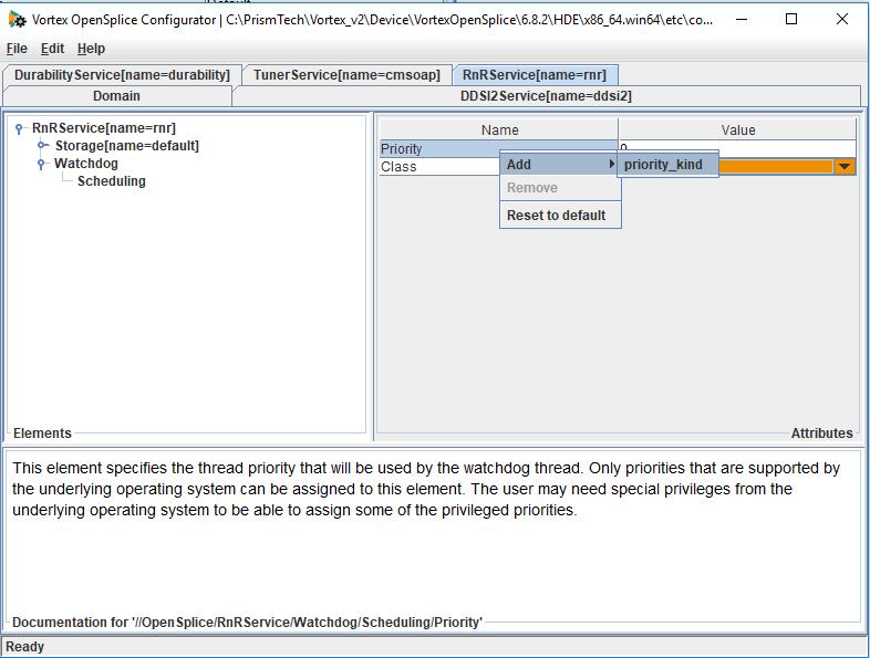 Adding priortiy kind into Vortex OpenSplice rnr service