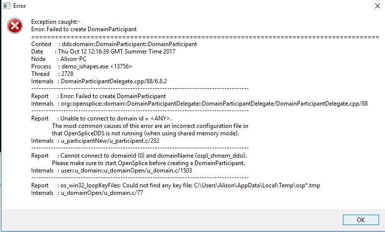 Exception OpenSplice daemon not running